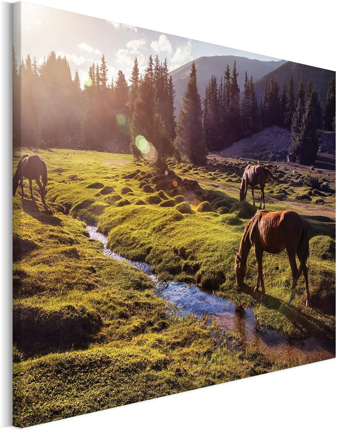 Revolio - Cuadro en Lienzo - impresión artística - Decoracion de Pared - Tamaño: 40x30 cm - Caballos montańas Verde