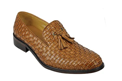 Mens Vintage Handmade Brown Real Leather Woven Tassel Loafers MOD Slip On Shoes