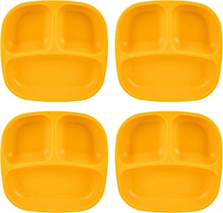 "product image for Re-Play Recycled Products Small Divided Plates, Set of 4 (7.375"" Divided Deep Walled Plate, Sunny Yellow)"