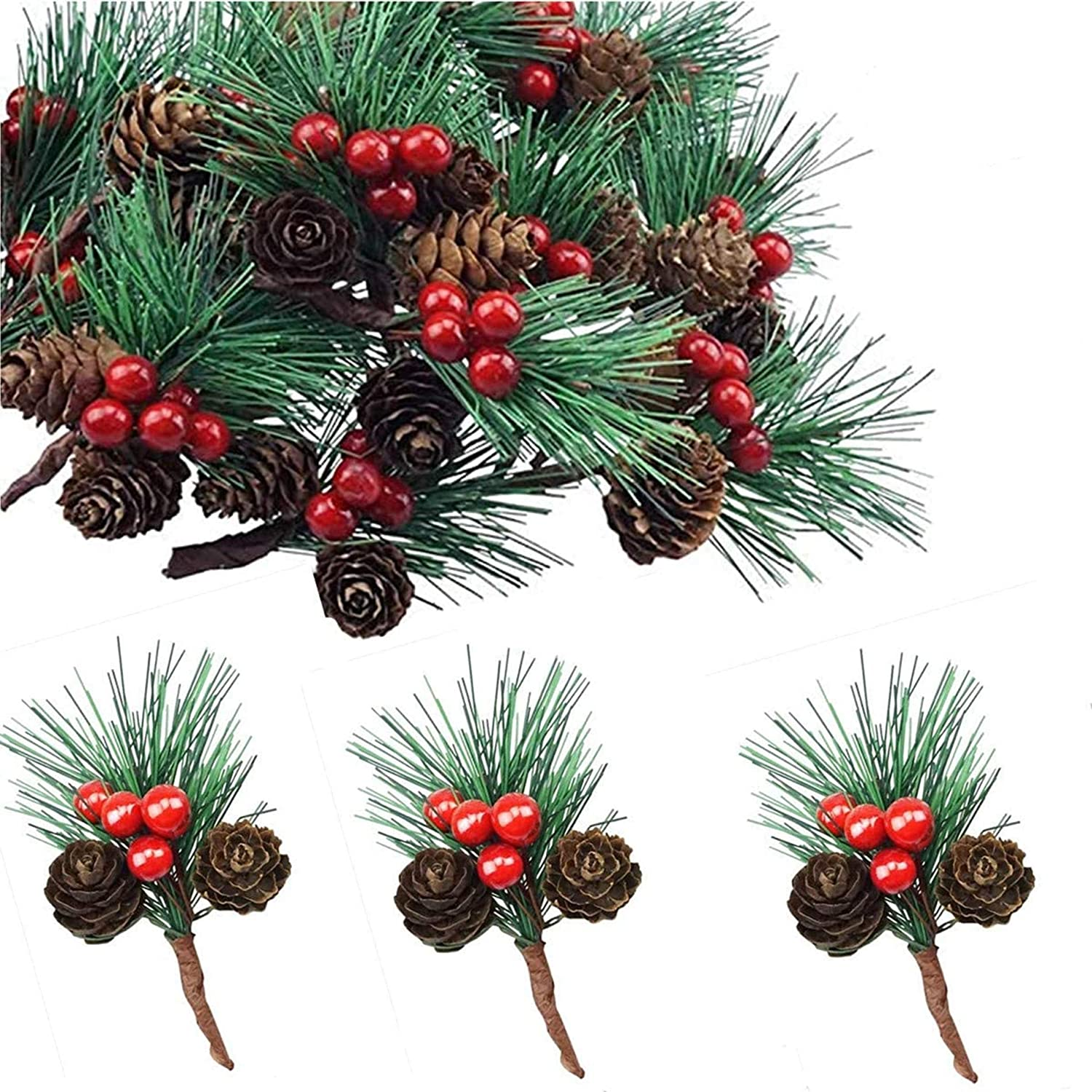 Fbaby 20 Packs Artificial Red Berry Pine Cones Needles Stems, Winter Christmas Garland and Berries Decor for Xmas, DIY Crafts, Holiday Wreath Ornaments and Home Garden Decoration