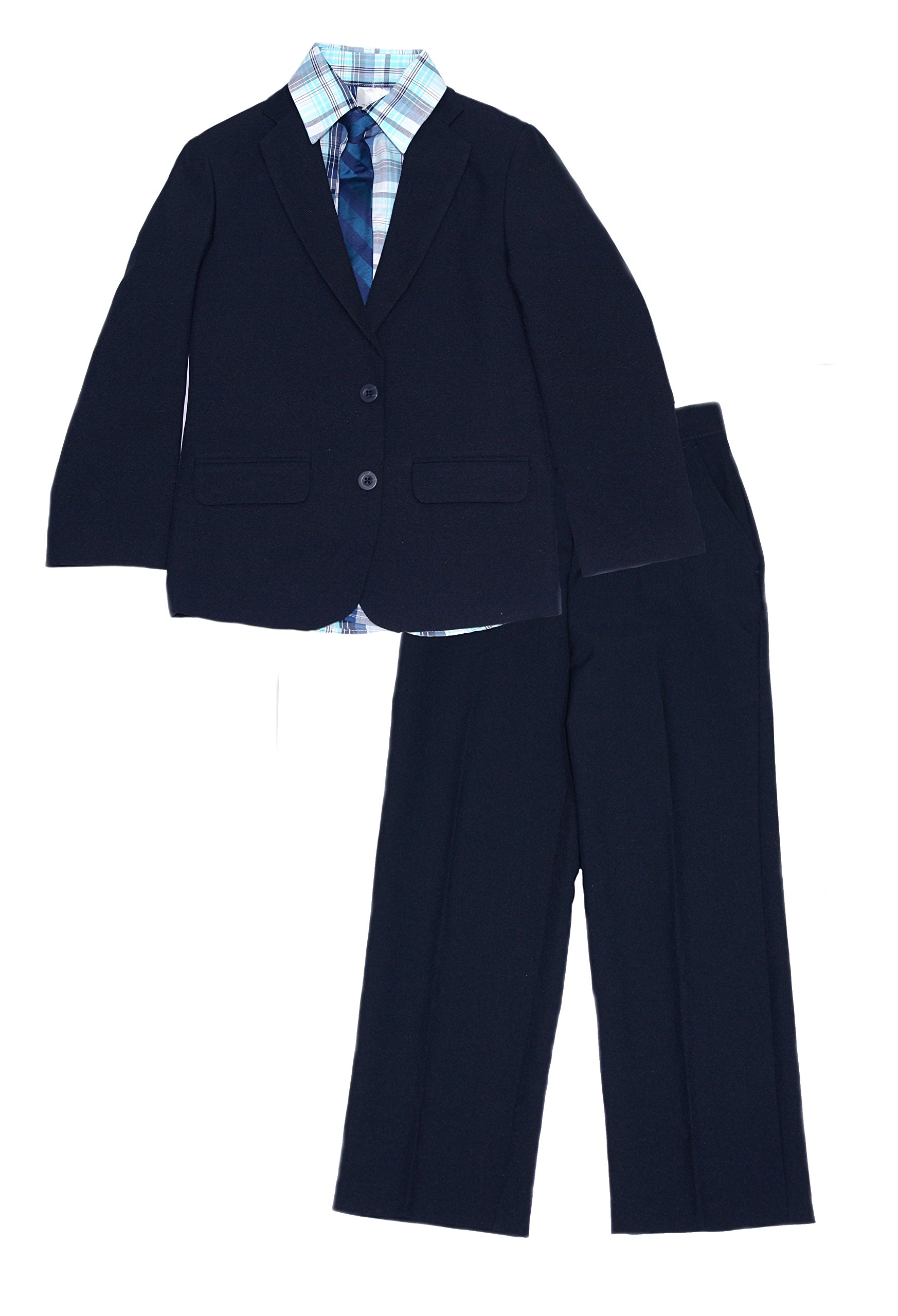 IZOD Big Boys Suit Jacket Blazer 4 Pc Set with Shirt Tie and Pants (Navy, 12)