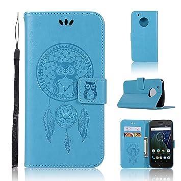 uk availability 374e4 7d177 Moto E4 Wallet Case,Moto E4 Case,A-slim Owl Dreamcatcher Embossed PU  Leather Magnetic Flip Cover Card Holders Hand Strap Case for Motorola Moto  E4 / ...