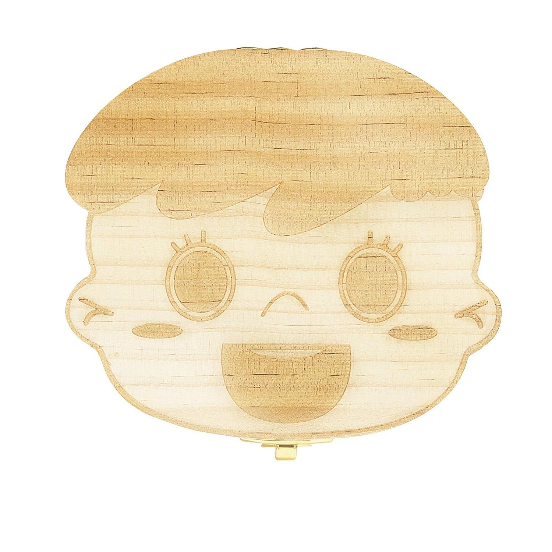 Monsiter Caja de madera linda del diente para los dientes de leche del bebé Guardar