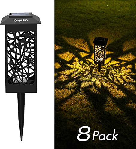 OxyLED Solar Path Lights Outdoor, 8 Pack LED Garden Pathway Lights Solar Powered, Decorative Landscape Lighting Security Light Auto On Off Dusk to Dawn for Lawn, Patio, Yard, Halloween, Christmas