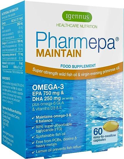 Pharmepa MAINTAIN - Omega-3 EPA y DHA aceite de pescado salvaje, con GLA y Vitamina D3, 750 mg EPA y 250 mg DHA por porción, 60 cápsulas: Amazon.es: Electrónica