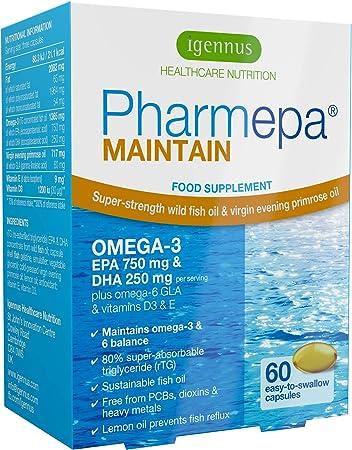 Pharmepa Maintain EPA DHA rTG Omega-3, Wild Fish Oil & D3, 1000mg per Serving, Odorless, 60 Small softgels