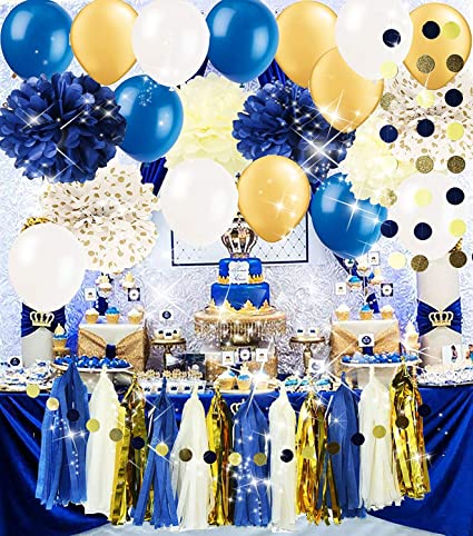 Royal Pince Baby Shower Decorations Navy Gold Bridal Tissue Pom Latex Ballons