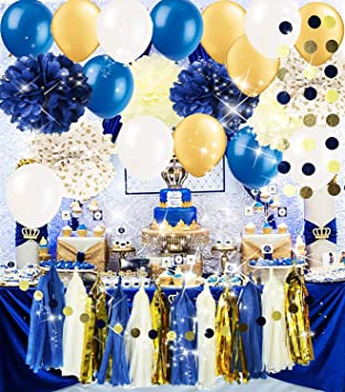 Amazon Com Royal Pince Baby Shower Decorations Navy Gold Bridal