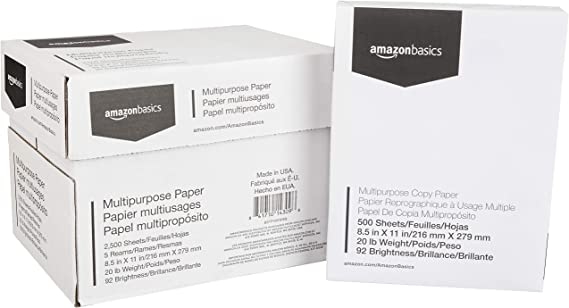 AmazonBasics Multipurpose Copy Printer Paper - White