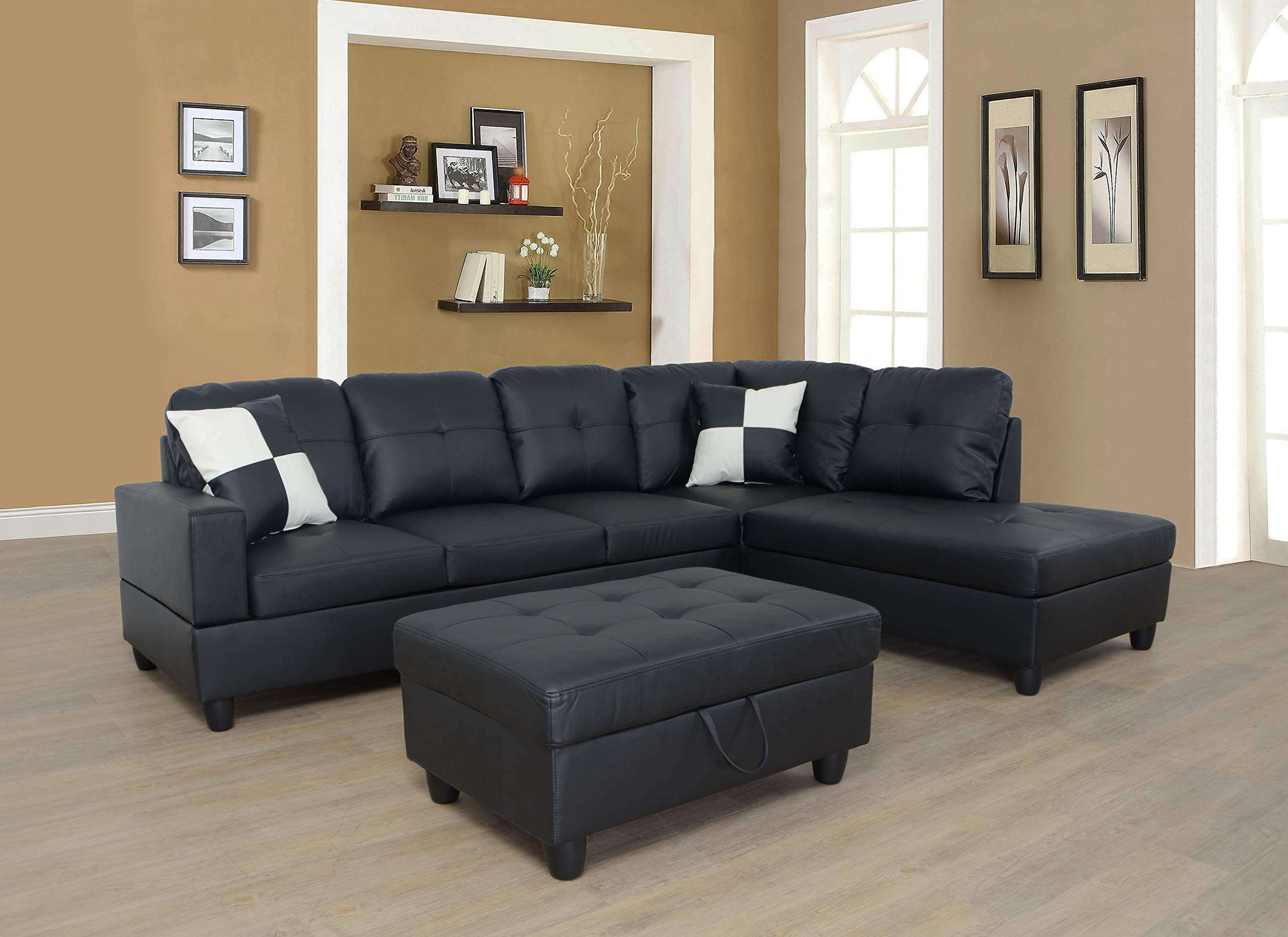 Lifestyle Furniture Right Facing 3PC Sectional Sofa Set,Faux Leather,Black(LS091B) by Lifestyle