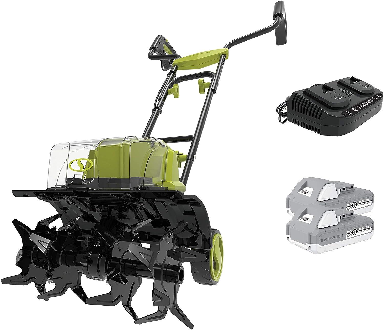 Sun Joe 24V-X2-TLR14 48-Volt iON+ Cordless Garden Tiller/Cultivator, Kit (w/ 2 x 2.0-Ah Batteries and Charger)