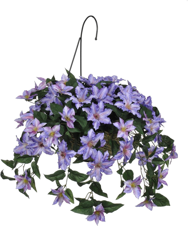 Artificial Purple Clematis Hanging Basket