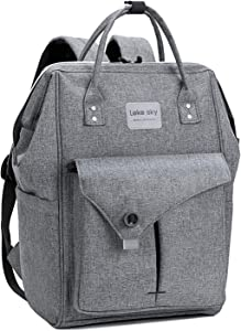 Lekesky Laptop Backpack, Travel Backpack for Women 15.6 Inch Work Laptop Bag Men Computer Backpack Water Repellent, Grey