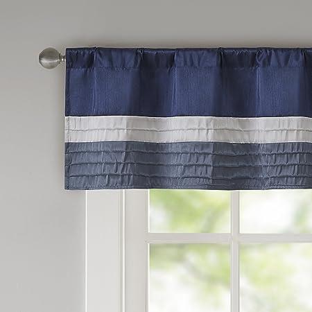 Amazon Com Amherst Polyoni Pintuck Teal Gray Window Valance Modern Rod Pocket Valances For Windows 50x18 Navy Home Kitchen