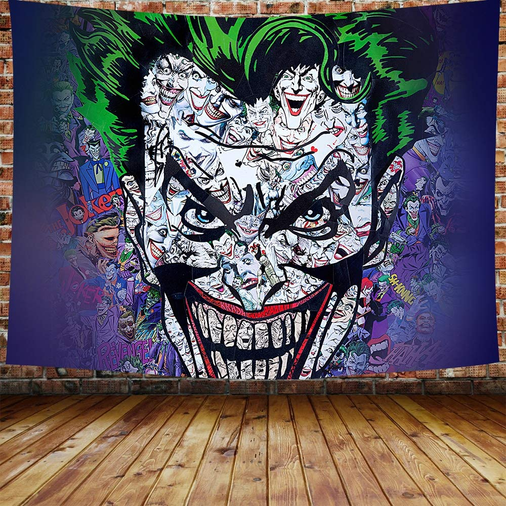 DBLLF Tapestry Colorful Horror of Cartoon Clown Zombie Face Joker Evil Home Decor Wall Hanging for Living Room Bedroom Dorm 80×60 Inches DBZY0597