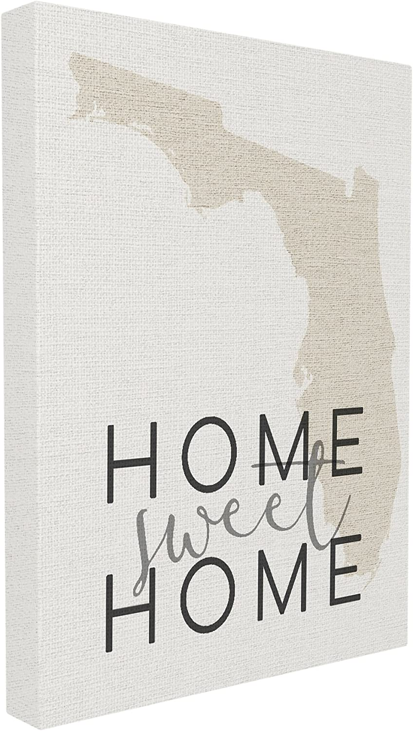 The Stupell Home Décor Collection Sweet Home Florida Typography Stretched Canvas Wall Art, 16 x 20