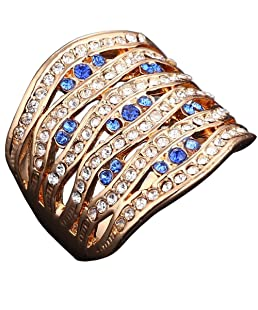 Claire Jin Exagére Creusant Plaque Or 18K Bijoux Femme Grosse Bague Diamant de Imitation