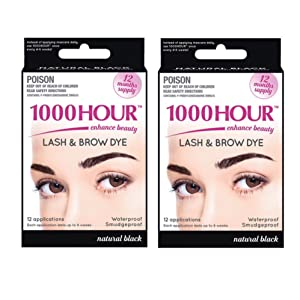 Combo Pack! 1000 Hour Eyelash & Brow Dye/Tint Kit Permanent Mascara (Black & Black)