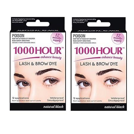Combo Pack 1000 Hour Eyelash Brow Dye Tint Kit Permanent Mascara Black Black