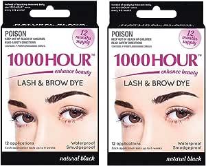 Combo Pack 1000 Hour Eyelash & Brow Dye/Tint Kit Permanent Mascara (Black & Black)