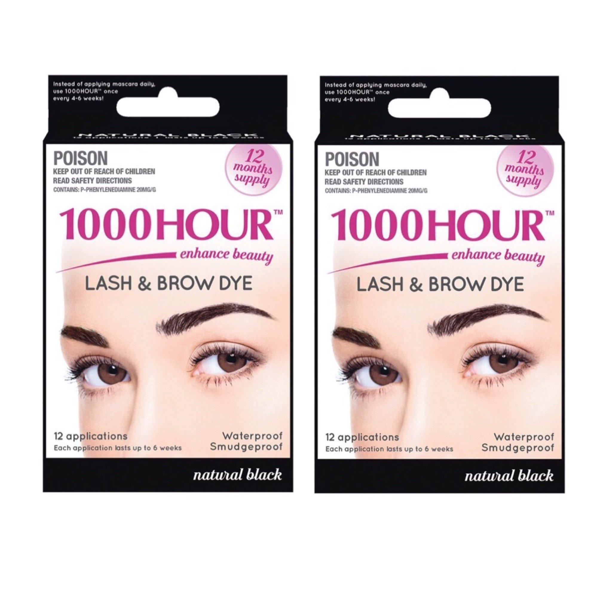 d27801d51f4 Amazon.com : 1000 Hour Eyelash & Brow Dye / Tint Kit Permanent Mascara  (Black) (2 Pack) : Beauty