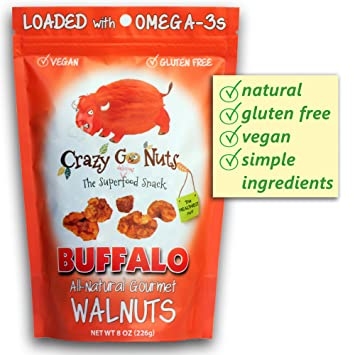 Crazy Go Nuts Flavored Walnuts & Healthy Snacks: Gluten Free, Vegan, Low  Carb + Keto Snacks, 8oz