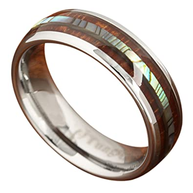 Genuine Koa Wood Abalone Tungsten Two Tone Wedding Ring Central 6mm 105