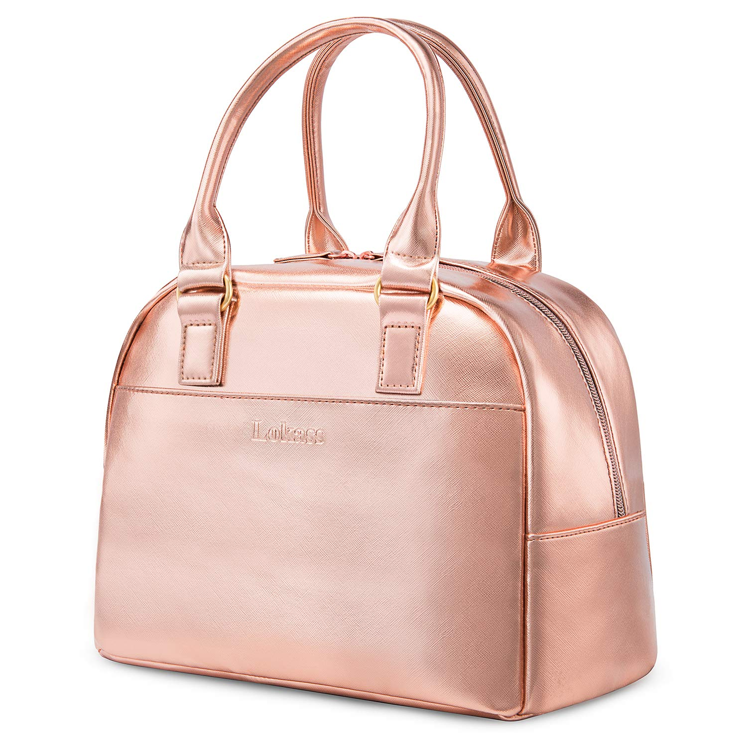 Rose Gold LOKASS Lunch Bag Cooler Bag Women Tote Bag Insulated Lunch Box Water-resistant Thermal Lunch Bag Soft Liner Lunch Bags for women//Picnic//Boating//Beach//Fishing//Work
