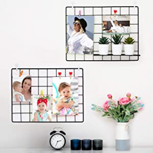 2 Pack Wall Grid Wire Panel | Photo Display Gridwall | Metal, Black & Magnetic Panels | Mesh Storage Organizer & Picture Frame | Hanging Home, Office & Kitchen Decor