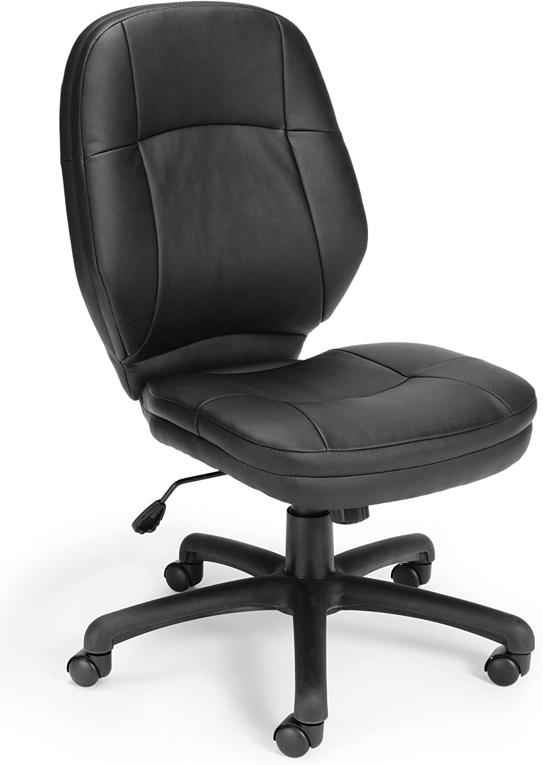 OFM Stimulus Series Leatherette Executive Mid-Back Armless Chair, in Black
