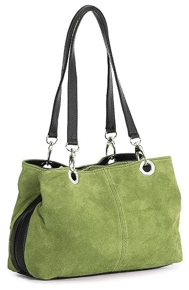 5fe18fefa5 Big Handbag Shop Womens Small Twin Top Multi Zip Pockets Suede Leather  Shoulder Bag (Lime