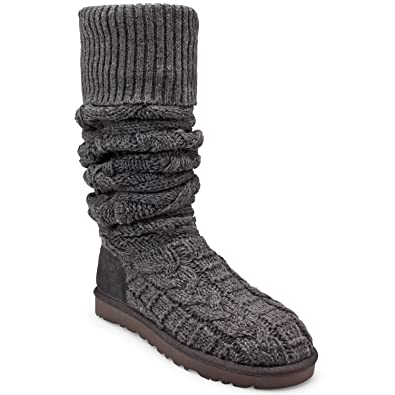1508ae69b54 UGG Womens Australia Over the Knee Twisted Cable Boot Charcoal 10