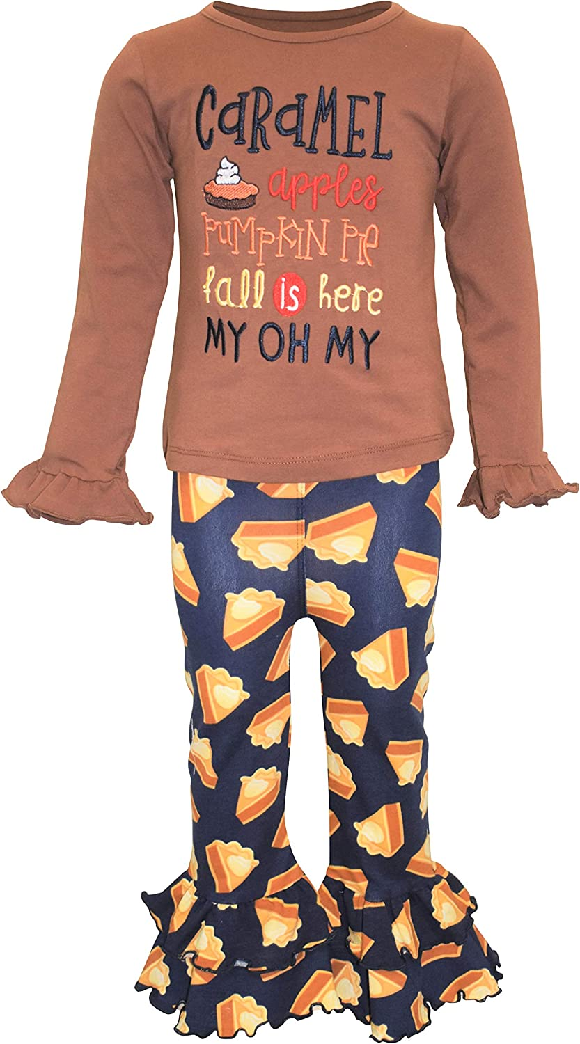 Unique Baby Girls Caramel Apples Pie 2pc Thanksgiving Legging Set
