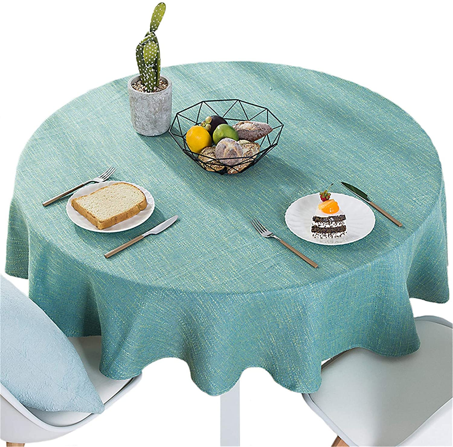 Bettery Home Cotton Linen Solid Color Tablecloth Round Simple Style Table Cover for Kitchen Dining Tabletop Linen Decor (Green, Round - 55 Inch)