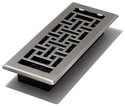 Decor Grates AJH310-NKL 3-Inch by 10-Inch Oriental Floor Register, Brushed  Nickel
