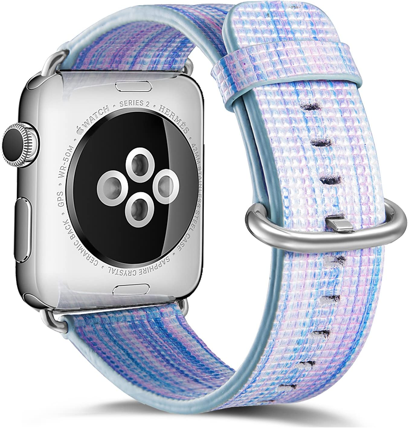 Compatible Apple Watch Band 38mm 40mm,Pierre Case Genuine Leather iwatch Strap Replacement Bands with Stainless Metal Clasp Compatible iWatch Series 6 & 5 & 4 &3 & 2 & 1 Edition Women Girl(Blue)