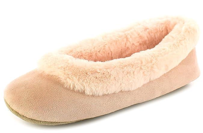 Kisses New Ladies/Womens Dusky Pink Faux Fur & Microfibre Ballerina Slippers  - Dusky Pink - UK Size 6: Amazon.co.uk: Shoes & Bags