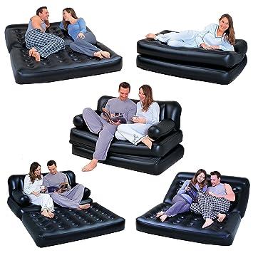 Sofá cama colchón multifunción hinchable reclinable 2 plazas con bolsa - Negro: Amazon.es: Bricolaje y herramientas