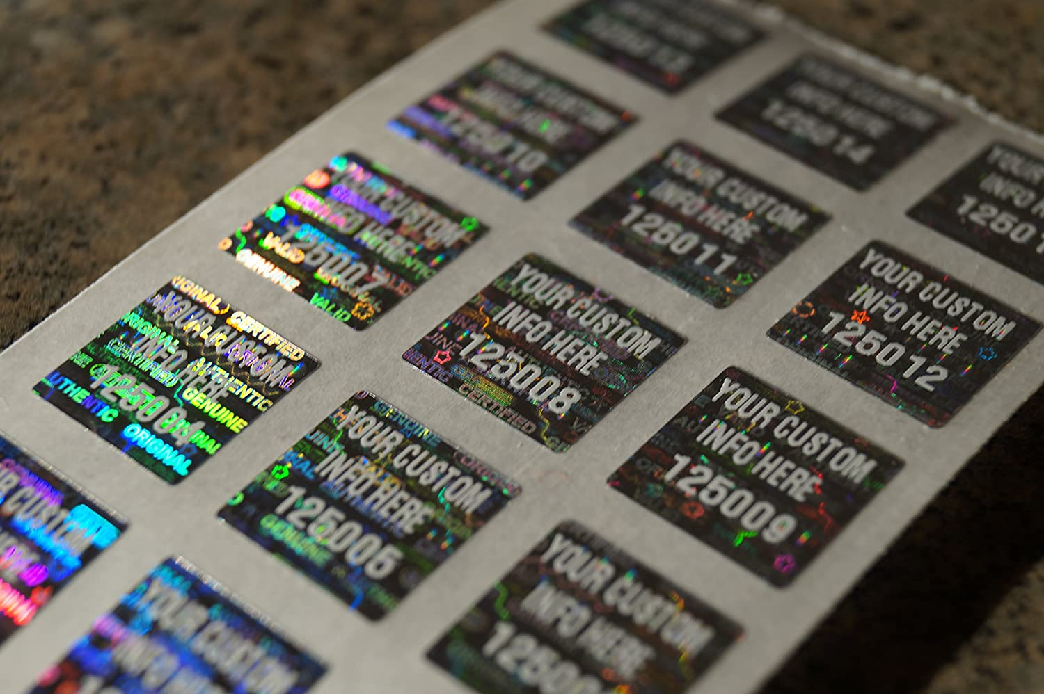 Qty 500 custom white printed bright silver hologram warranty void tamper evident high security labels stickers 5 inch square