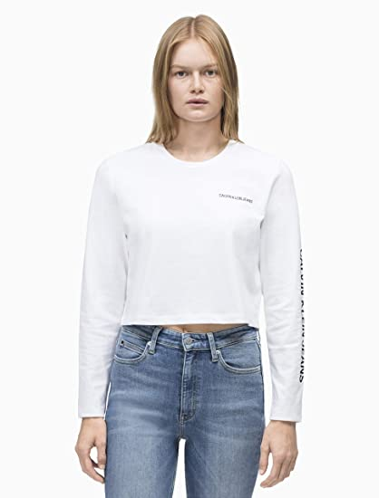 4860ddb6bdbc Calvin Klein Jeans Sleeve Institutional Cropped W Longsleeve Bright White:  Amazon.co.uk: Clothing