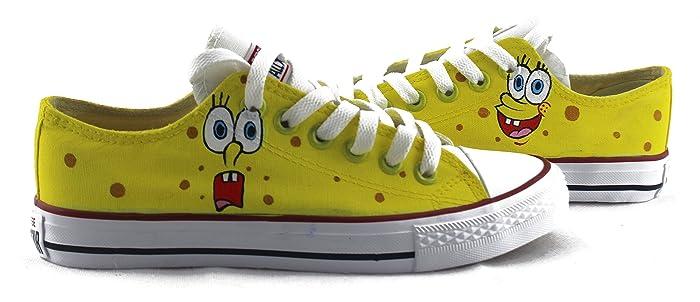 259b7be3bc4f Amazon.com  Women Men s Sneakers Hand Painted Shoes SpongeBob ...