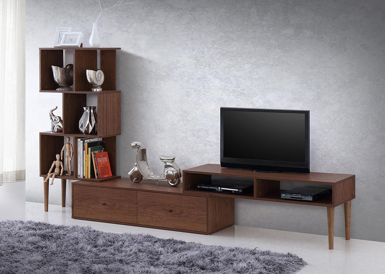 amazoncom baxton furniture studios haversham midcentury retro modern tv stand center and display unit kitchen u0026 dining