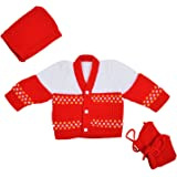 Montu Bunty Wear New Born Sweater Boutique Collection, 0-3 Months (Red, ZeroG7-Red)