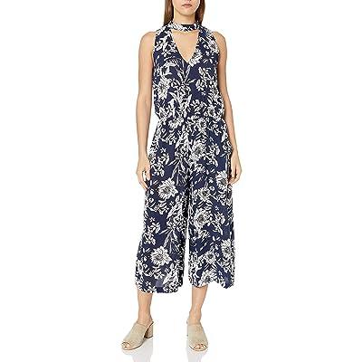 A. Byer Women's Gigi Neck Printed Gaucho Jumpsuit, Pat A, M: Clothing