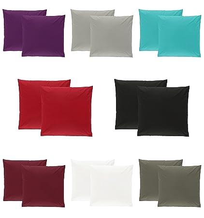 Doppelpack Baumwolle Renforcé Kissenbezug Kissenbezüge Kissenhüllen 40x40 Cm In 8 Modernen Farben Grau