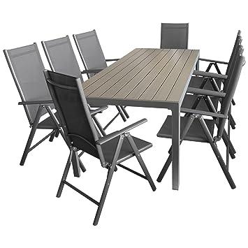 Sitzgarnitur Sitzgruppe Gartengarnitur Gartenmöbel Terrassenmöbel Set  Aluminium Polywood Tisch 205x90cm + 8X