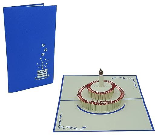 3D Geburtstagskarten - 3 Stück (Motive: Torte & Geschenk ...