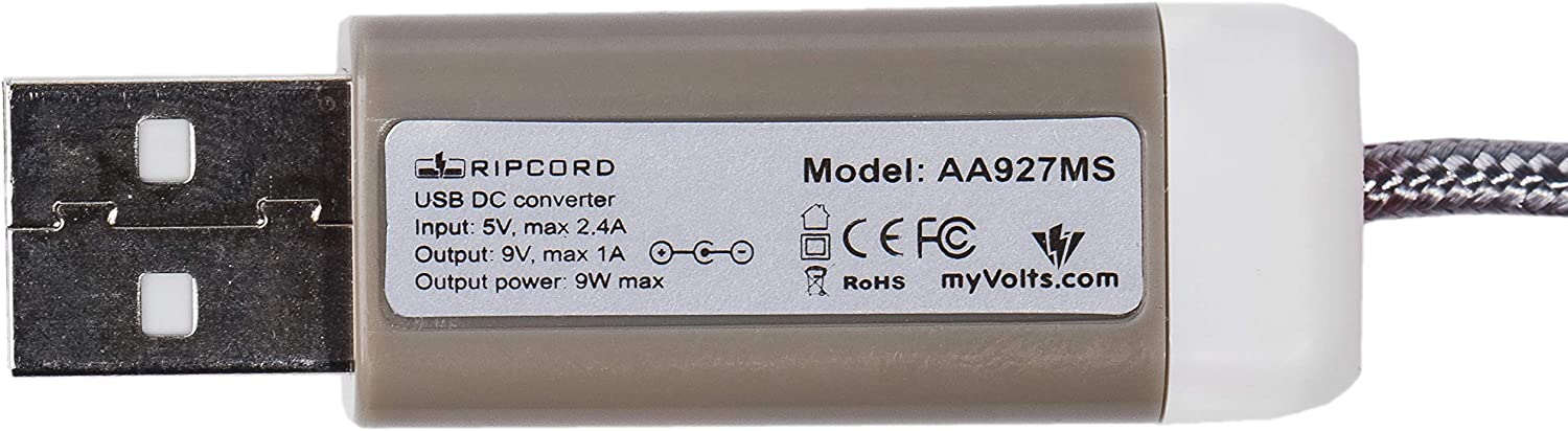 myVolts Ripcord USB to 9V DC Power Cable Compatible with The Brother PT-H105 Label Printer