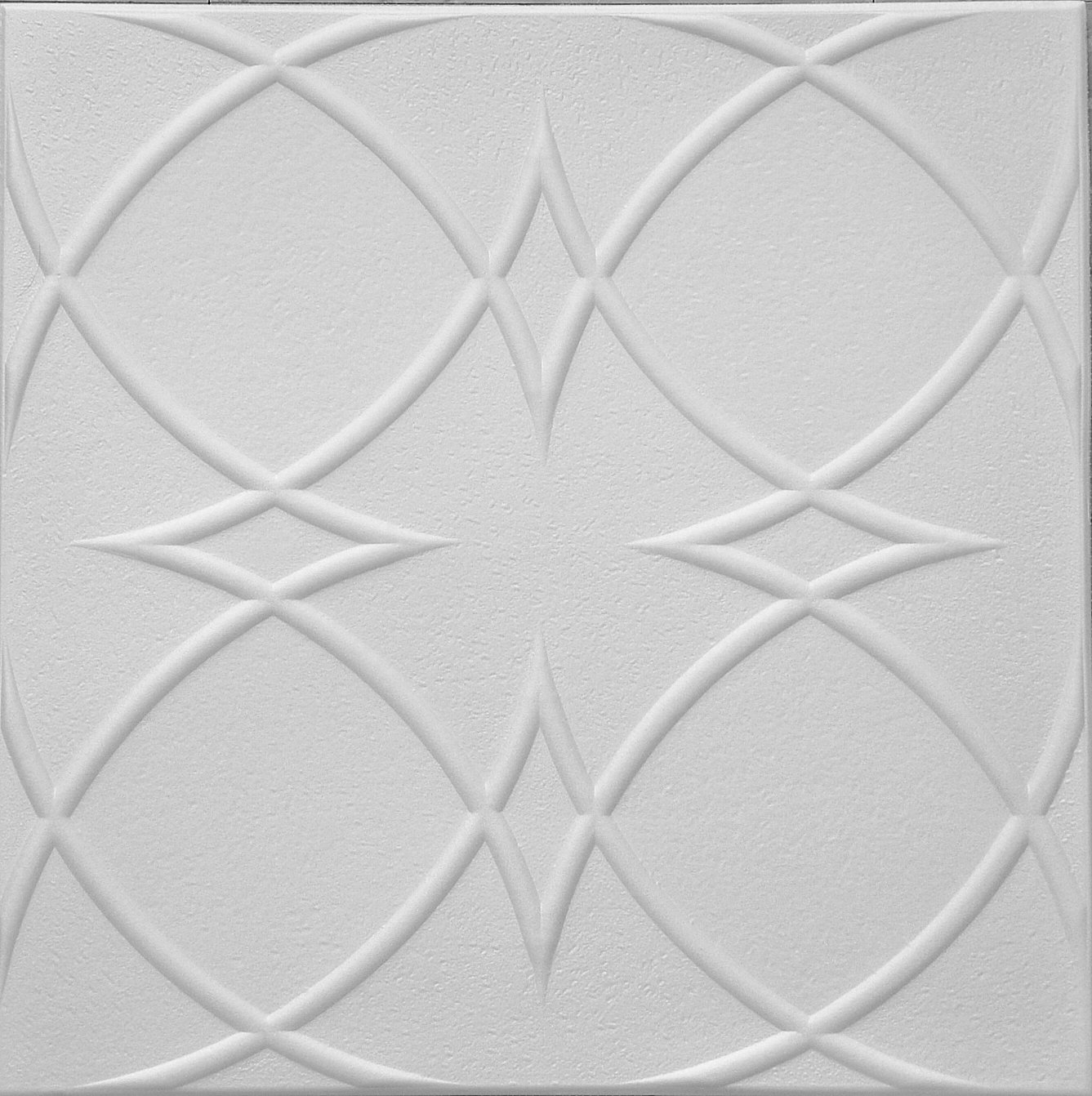 Easy to install RM-82 Polystyrene (Styrofoam) ceiling tile to cover popcorn (Pack of 8 plain white tiles). DIY glue up application on on most flat ceiling surfaces or over popcorn. Circles & Stars Design. TRM