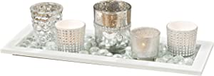 White Nights Wind Lights, Centerpiece Set of 7, 5 Glass Tealight Candle Holders, 1 Glass Pebble Pack and 1 Wood Tray, Shimmery Silver and Reflective Rhinestones, 14.5 Inches Long